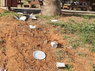 Residuos de plástico de un solo uso en una reserva natural.