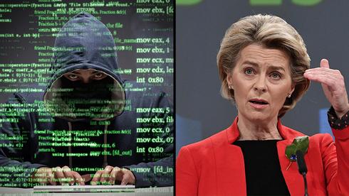 Ilustración de un hacker y de la jefa de la Comisión Europea, Ursula von der Leyen