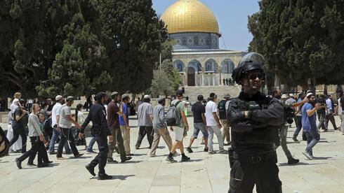 Visitantes judíos en el Monte del Templo el domingo.