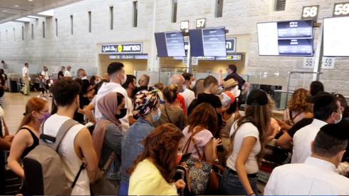 Largas filas en el Aeropuerto Ben Gurion.