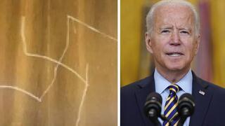 Joe Biden, presidente de Estados Unidos y la esvástica grabada en el ascensor del Departamento de Estado.