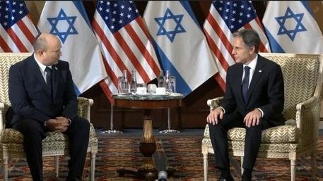 Reunión entre el primer ministro Naftali Bennett y el secretario de Estado estadounidense, Antony Blinken, el miércoles.