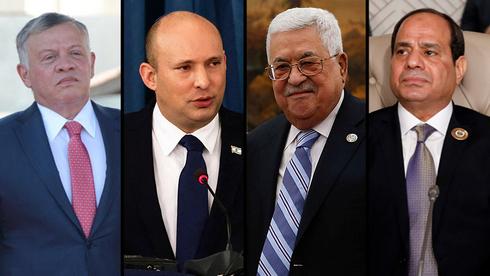 El rey de Jordania Abdullah II, el primer ministro Naftali Bennett, el presidente palestino Mahmoud Abbas y el presidente egipcio Abdel Fattah el-Sisi.