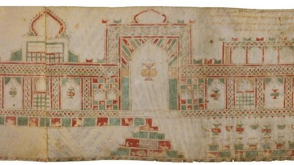 La Torre de David en el antiguo pergamino.