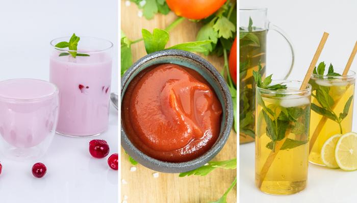Algunos de los productos de Amai: té helado, ketchup y yogur con sabor a cereza.