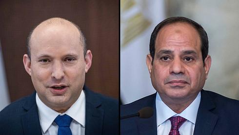 Primer ministro Naftalí Bennett. Presidente egipcio Abdel Fattah al-Sisi.