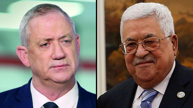 El ministro de Defensa Benny Gantz y el presidente palestino Mahmoud Abbas.