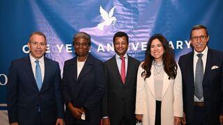 Erdan, a la izquierda, junto a embajadores de la ONU de Marruecos, Bahrein, Emiratos Árabes Unidos y Estados Unidos.