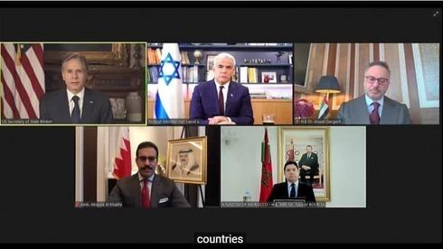 Antony Blinken, Yair Lapid y los ministros de Relaciones Exteriores de Bahréin y Marruecos en una reunión virtual que marca el primer aniversario de los Acuerdos de Abraham.