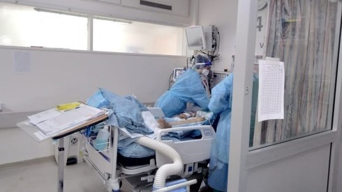 Sala de coronavirus en el Centro Médico Hadassah en Jerusalem.