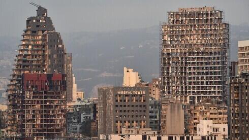 Los edificios destruidos son una prueba de la gigantesca explosión en el puerto de Beirut, Líbano.